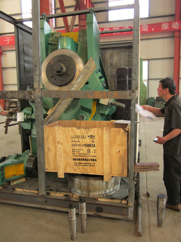 D51 vertical ring rolling machine being packaged
